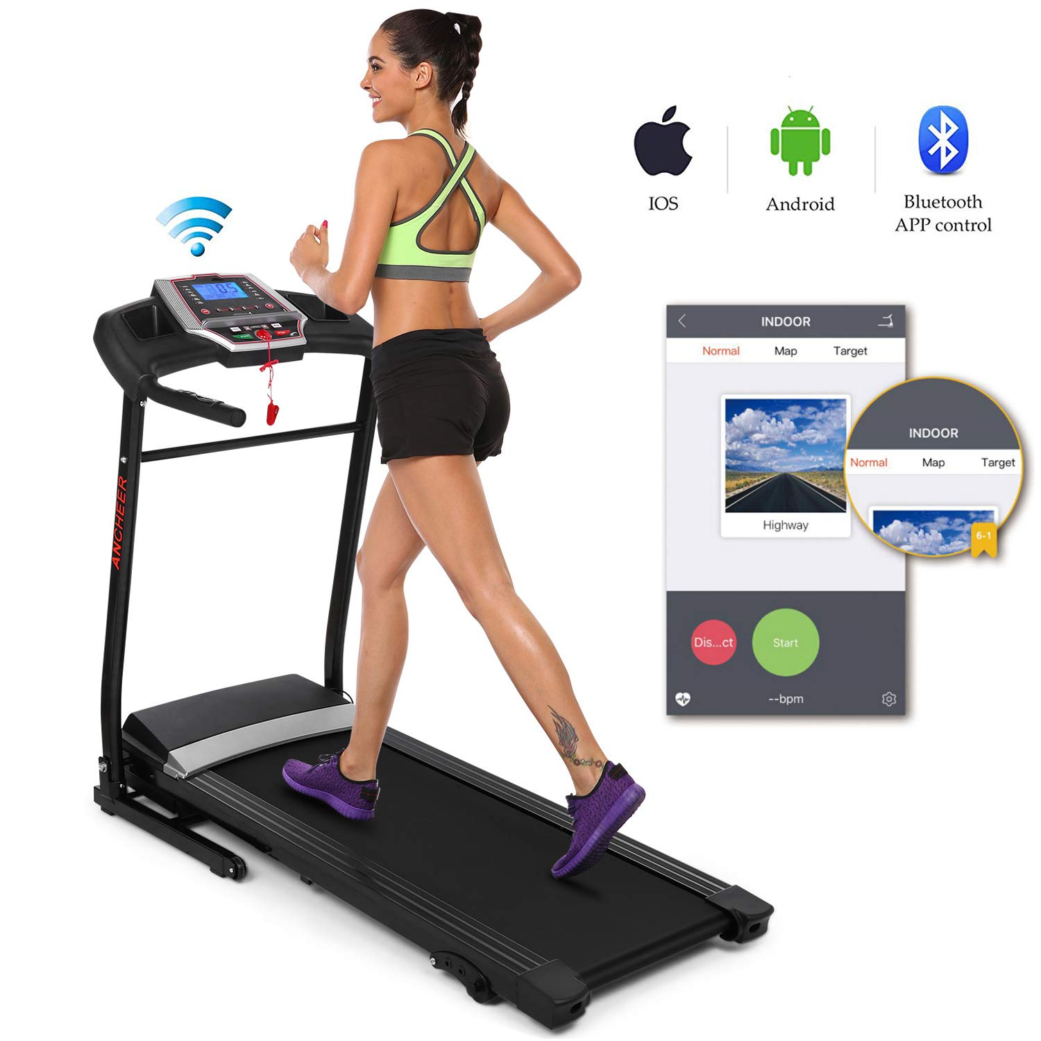 Folding Electric Treadmill Incline with Smartphone APP Control, Power Motorized Fitness Running Machine Walking Treadmill(US Stock) (2.25 HP)