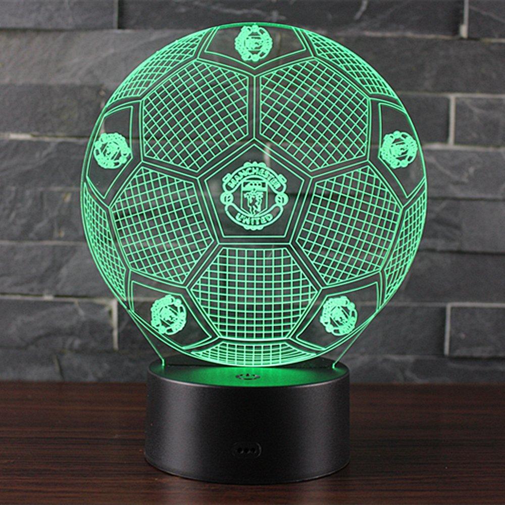 Manchester United lampada da scrivania San Valentino Della Decorazione della Casa Del Regalo di Natale NHsunray Lampada effetto 3D Luce notturna regolabile con 7 colori LED e Interruttore tattile