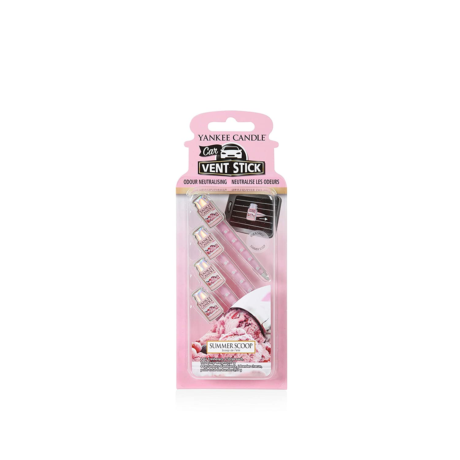 Yankee Candle Car Vent Stick, Summer Scoop, pink, 0,1 x 6,6 x 18,2 cm 1519955E