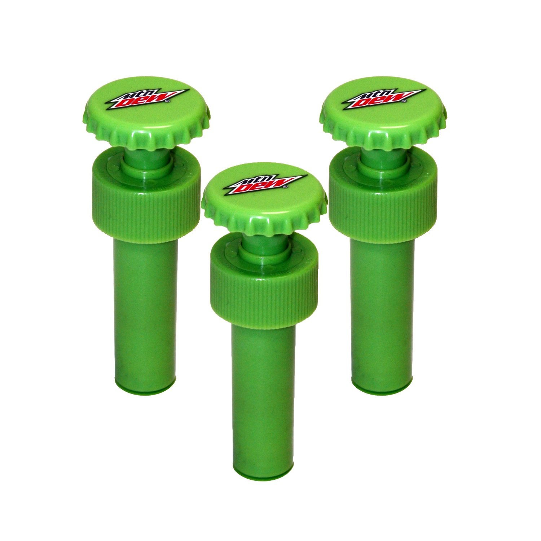Jokari 3 Count Mtn Dew Modern Logo Fizz Keeper Soda Bottle Pump Caps, Green