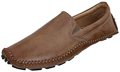0851783dea0 Marshal Men s Tan Synthetic Leather Slip On Stylish Casual Loafers Shoes 9  Size UK