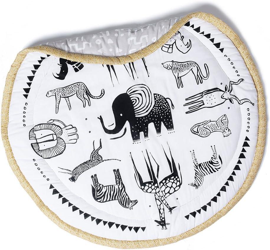 Wee Gallery Organic Cotton Muslin Mat for Baby Safari Play Mat 40-inch Diameter