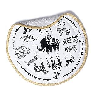 Wee Gallery, Safari Play Mat, Organic Cotton Muslin Mat for Baby, 40-inch Diameter