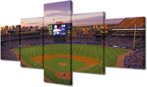 """MLB Baseball Team Wall Pictures for Living Room 5 Panels Canvas Atlanta Braves Home Paintings Major League Baseball Wall Art Home Decor Giclee Wooden Framed Gallery-Wrapped Ready to Hang(50""""Wx24""""H)"""