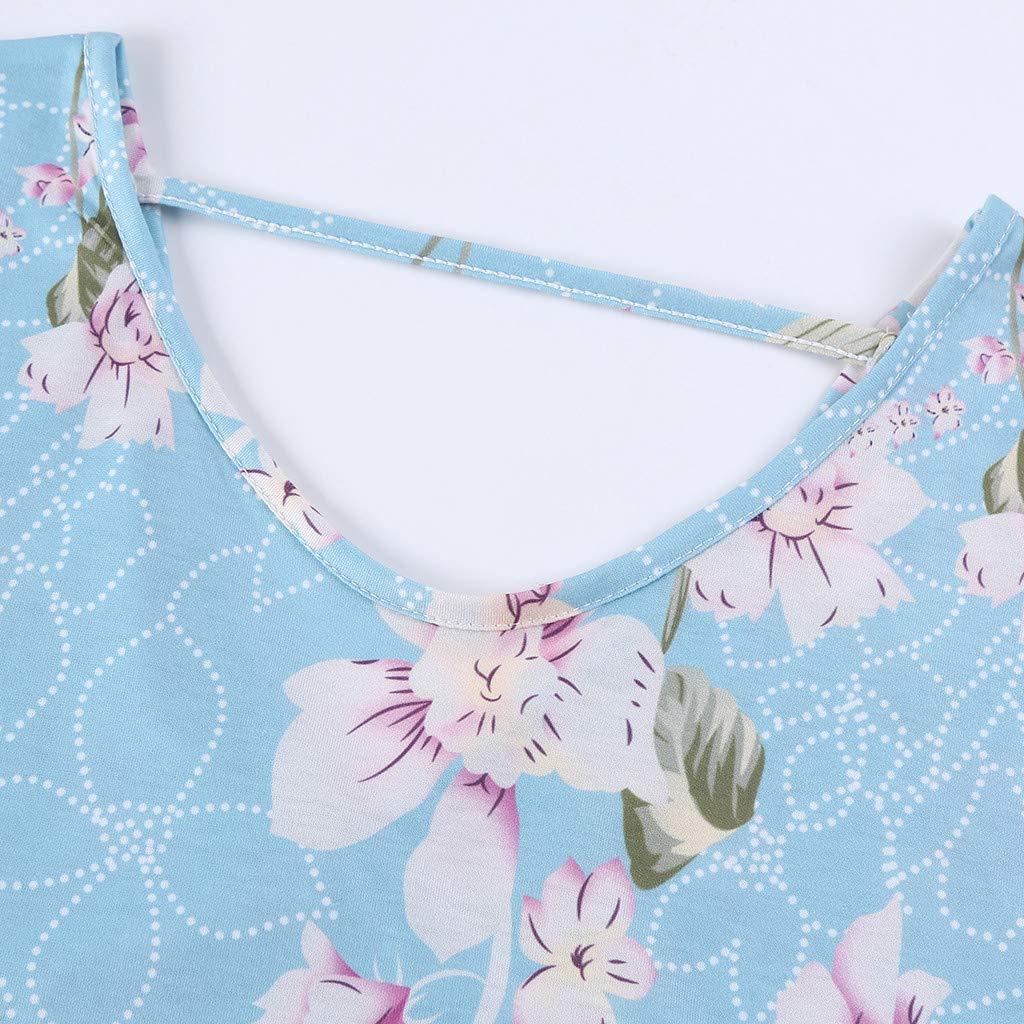 TWGONE Maxi Dresses For Women Summer Short Sleeve Loose Pocket Split Long Dress (X-Large,Blue) by TWGONE (Image #5)