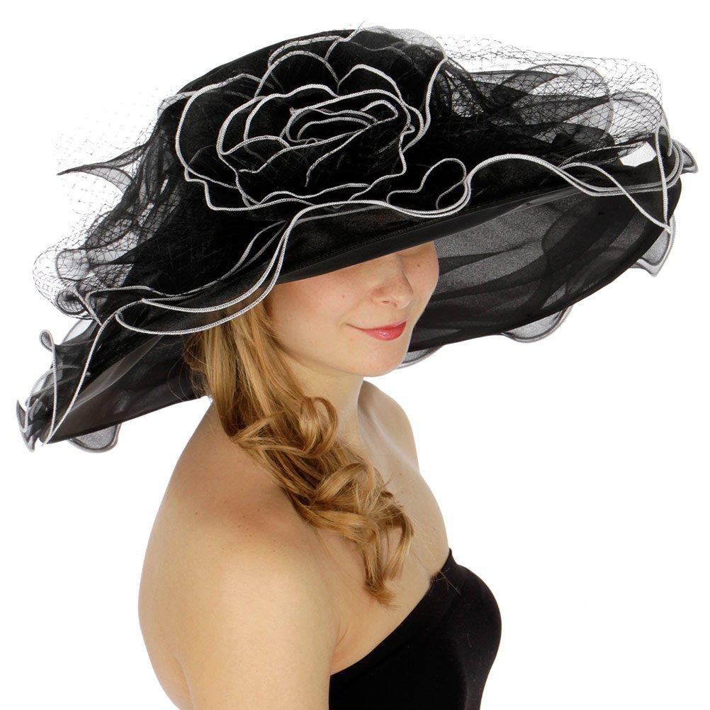 SERENITA Church Hats for Women   Tea Party Hats   Fasciantor Derby Hats   Organza Bucket Hats