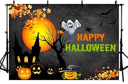 6x6ft,chy705 Levoo Skull Pumpkin Background Banner Photography Studio Cartoon Background Birthday Family Party Halloween Celebration Photography Backdrop Home Decoration