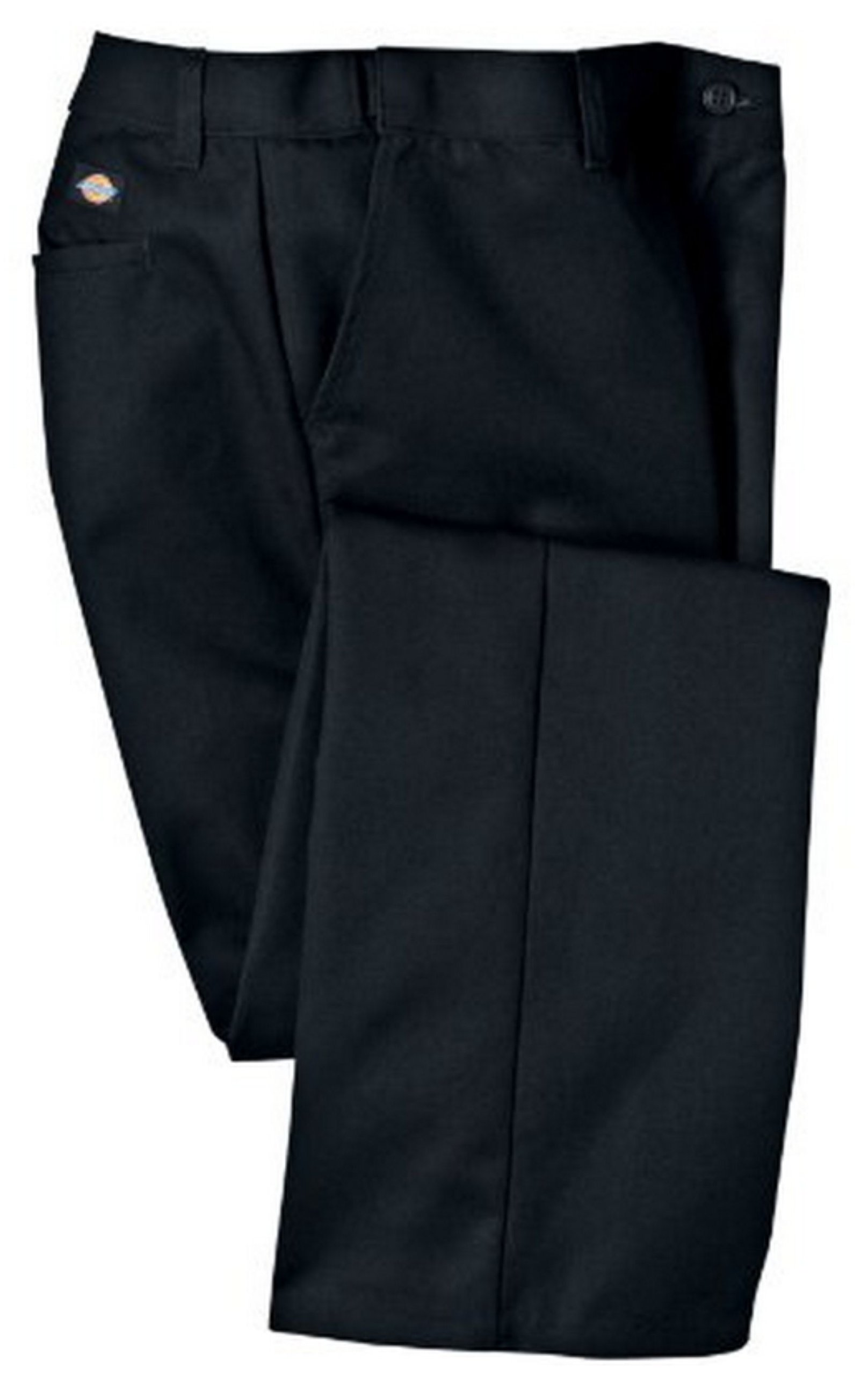 Dickies Occupational Workwear FP325BK 8 P Polyester/ Cotton Relaxed Fit Women's Industrial Comfort Waist Flat Front Pant with Straight Leg, 8 Petite, 28'' Inseam, Black