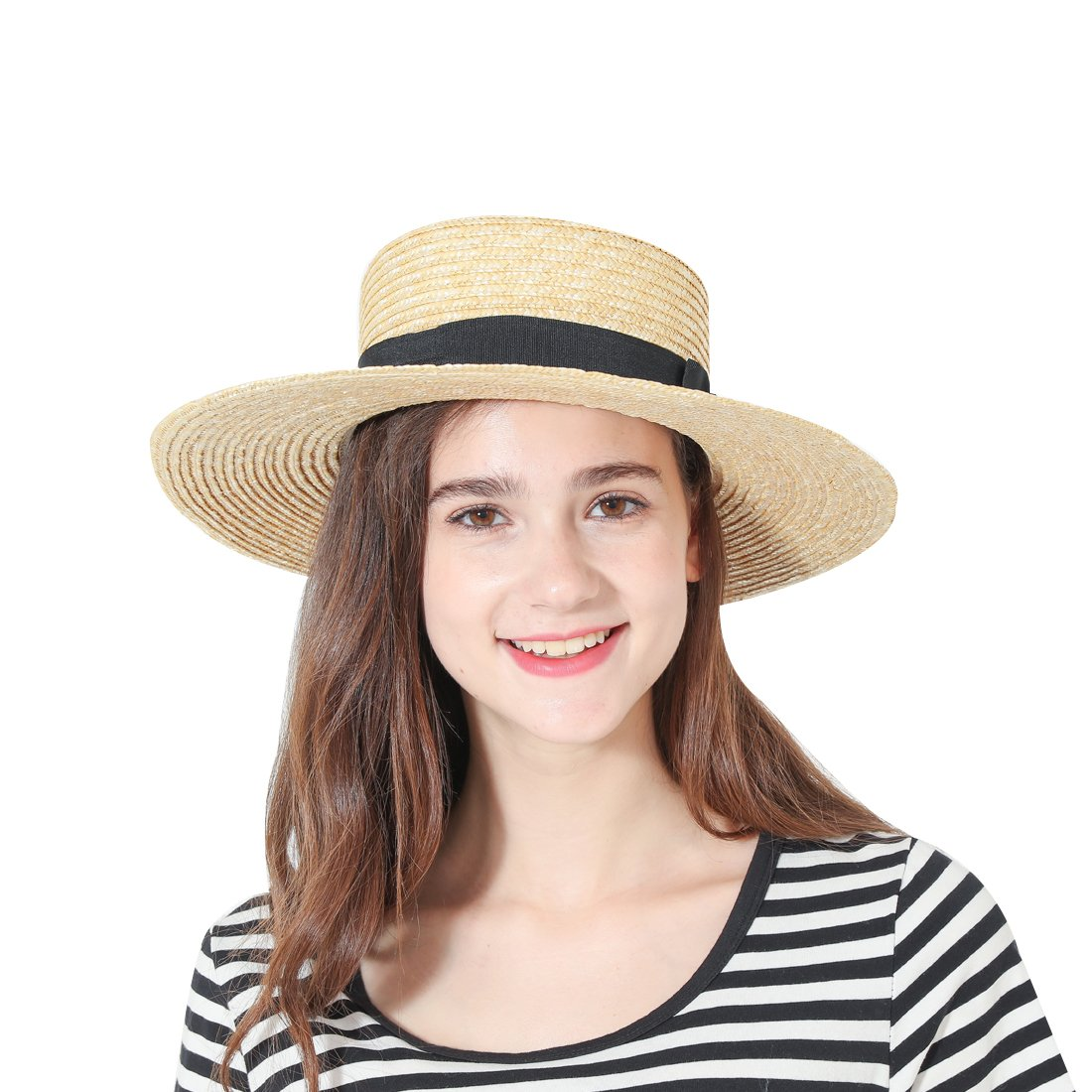 c3887f1059dfc Womens  Panama Sun Hat Boater Handwoven Straw Hat for Summer at Amazon  Women s Clothing store