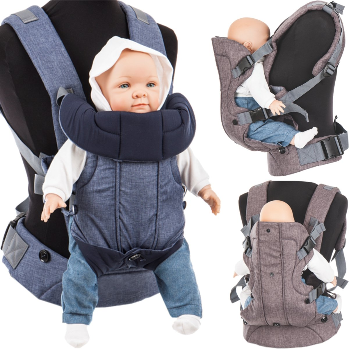 3 in 1 Baby Bauchtrage/Rückentrage (Stark gepolsterter Schultergurt) Füllung: (100% BAUMWOLLE) (MINT) Stimo24