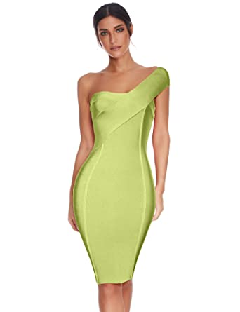 11b0dff31ca Meilun Womens One Shoulder Bodycon Bandage Club Party Dress (Green, XS)