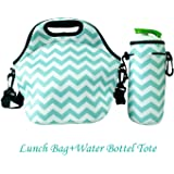 Amerzam Neoprene Lunch Bags/Lunch Boxes, Waterproof Outdoor Travel Picnic Lunch Box Bag Tote with Zipper and Adjustable Crossbody Strap (Light Blue Lunch bag+Water Bottle Tote) by Amerzam