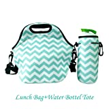 Amazon Price History for:Amerzam Neoprene Lunch Bags/Lunch Boxes, Waterproof Outdoor Travel Picnic Lunch Box Bag Tote with Zipper and Adjustable Crossbody Strap (Light Blue Lunch bag+Water Bottle Tote)