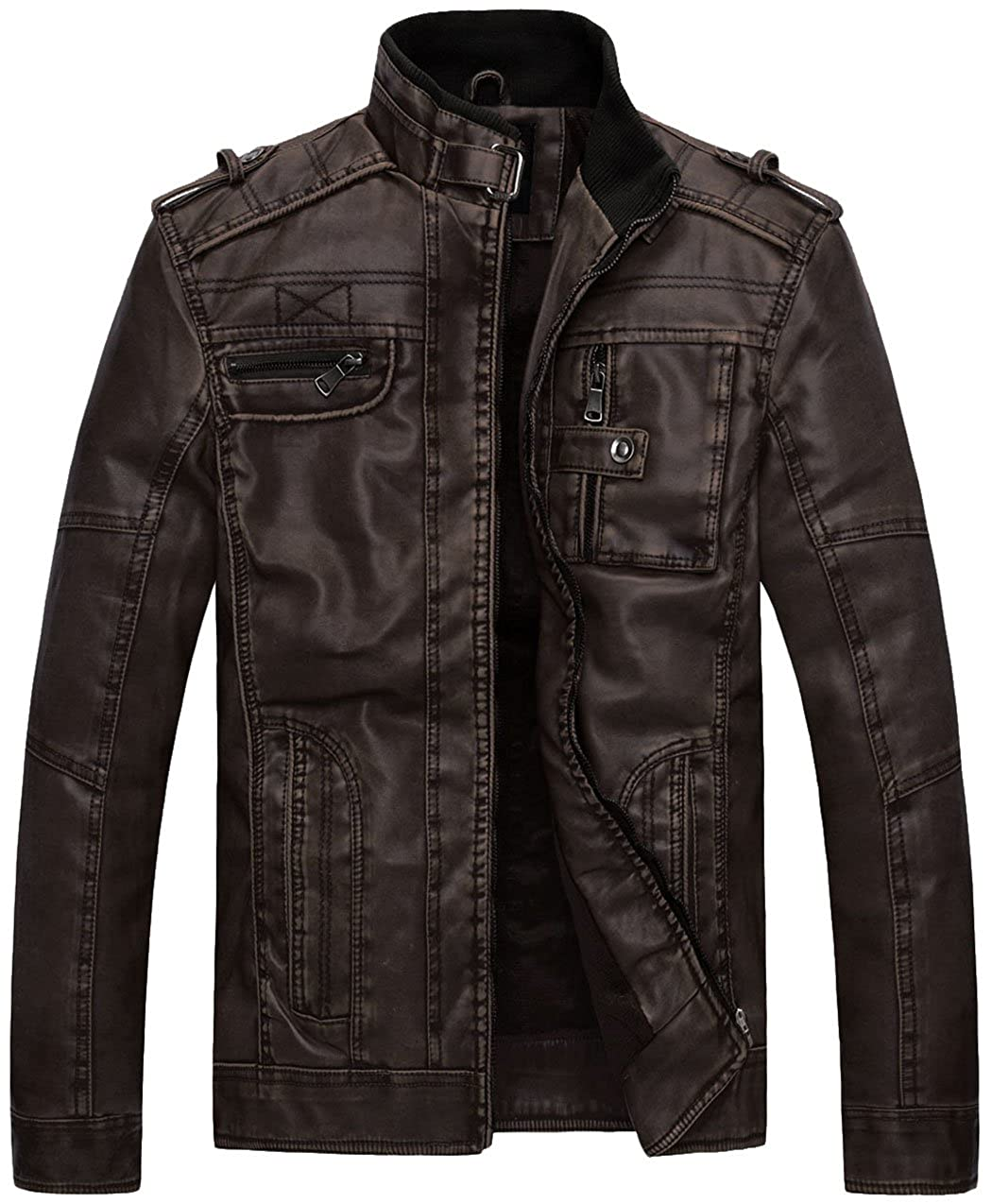 Mens Black Quality 4 Pocket Leather Motorcycle Biker Classic Waistcoat 600-002 Year-End Bargain Sale Vests