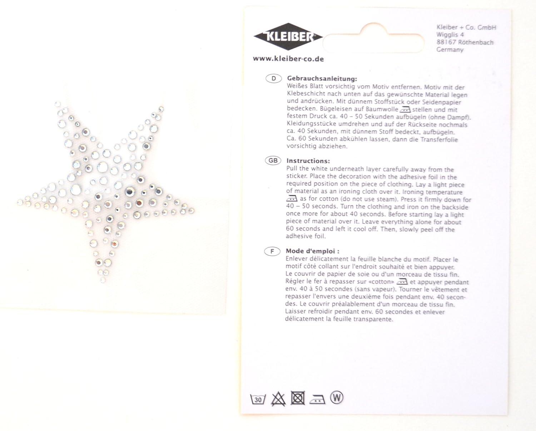 Gro/ßer Stern Kleiber 8 x 8 cm B/ügelbild Strass Diamanteneffekt Diamonte-Transfer