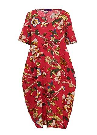 Romacci Women Floral Print Kaftan Cotton Dress Pockets Boho Casual Loose Vestidos Plus Size Dress at Amazon Womens Clothing store: