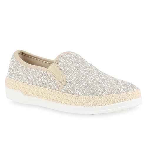 Damen Slipper Plateau Espadrilles Sneaker Slip-Ons Freizeit Gesteppt Bequem Pailletten Slippers Schuhe 136240 Creme Bast 36 Flandell twZ1xk