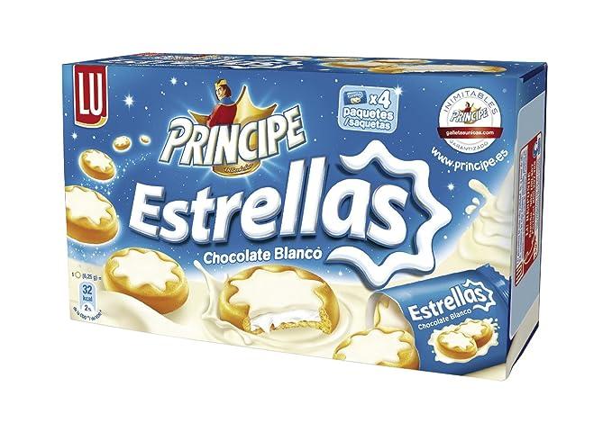 Principe Estrellas - Biscuits chocolate blanco relleno de crema, 150 g