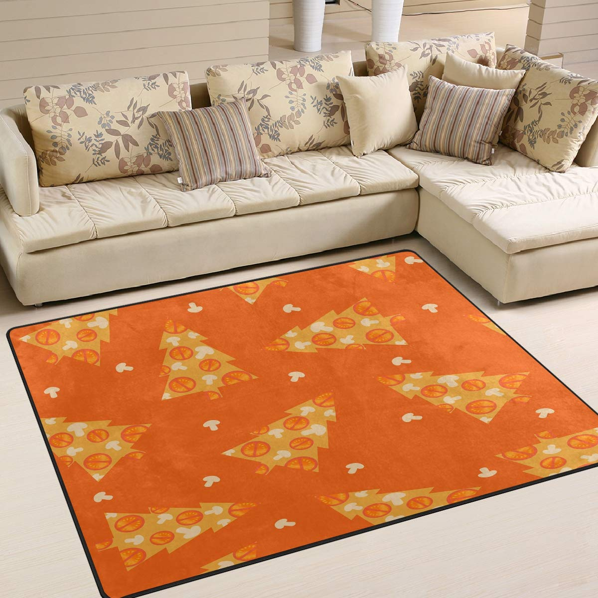 ALAZA Christmas Trees Decorated by Pizza Ingredients Indoor Modern Area Rug 4' x 5', Dining Room Home Bedroom Carpet Floor Mat Nursery Rug Room Mat