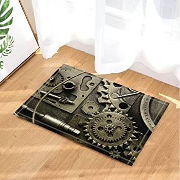 Industriel Révolution Décor Steam Gear Tapis de Bain Non-Slip ...