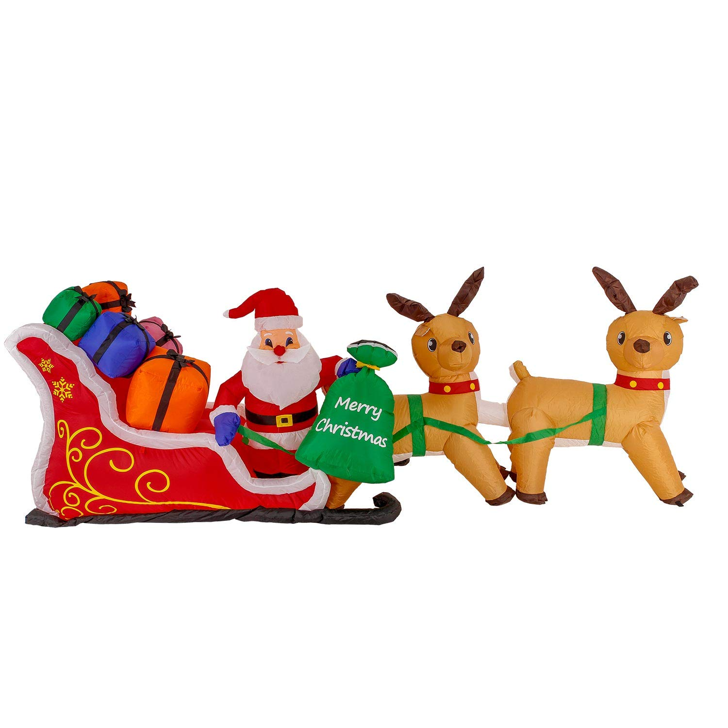 Christmas Masters Giant 10 Foot Long Inflatable Santa Claus On Sleigh with Reindeer and His Gift Bag with Presents LED Lights Indoor Outdoor Yard Lawn Decoration - Cute Fun Xmas Holiday Party Blow Up