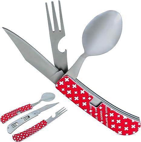 TopSpirit® Camping Tool 4 en 1 – Cubiertos de viaje de acero inoxidable – Cubiertos plegables multiherramienta (rojo)