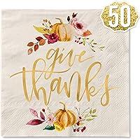"""Xo, Fetti - Servilletas de Acción de Gracias, 50 unidades, con texto en inglés""""Give Thanks Decorations"""""""