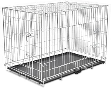 vidaXL Foldable Metal Dog Bench XXL Pet Carrier Crate Kennel Enclosure Cage