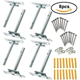 BIGTEDDY - Adjustable Blind Shelf Floating Support Invisible Brackets, Concealed Mount for Home Wall DIY, Silver (Packs of 8)