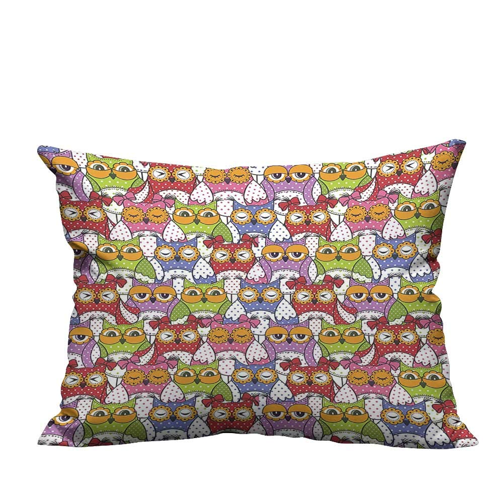 YouXianHome Lovely Cushion Covers Owl Crowd with Different Sights and Polka Dots Like Matryoshka Dolls Fun Retro Resists Stains(Double-Sided Printing) 19.5x30 inch by YouXianHome