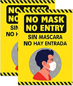 "Hohomark 2PCS No Mask No Entry Window Stickers,7""x10"" Wear Face Mask Bilingual Sticker Sign Mask Required Window Decal for Shop,Restaurant,School,Office"