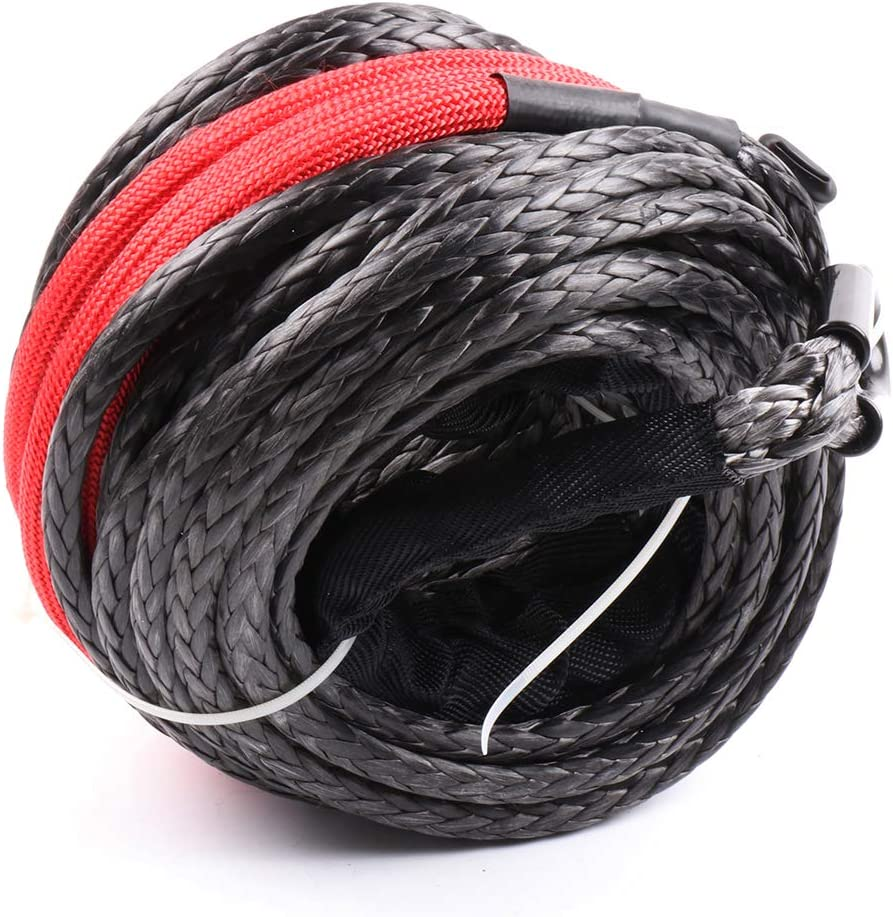 LSAILON Black Red Dyneema 3//8 inch X 95 ft 20500 LB Synthetic Winch Rope Cable Extension Universal Fit for Truck ATV SUV Pickup Winch Recovery Replacement