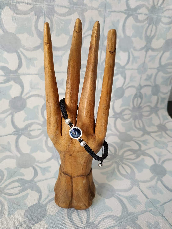 Pulsera tupis de swarovski azul oscuro con bolitas de zamak bañadas en plata, pulsera hecha a mano, pulsera macramé y plata, pulsera con cristal, regalo de navidad