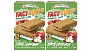 Fieldstone Bakery FastStart Apple Cinnamon Healthy Breakfast Bars, 2 Boxes, 32 Individually Wrapped Snacks