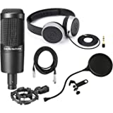 Audio Technica AT2035 Large Diphragm Condenser Microphone w/Shock Mount, Pop Filter, Headphones, and Mic Cable