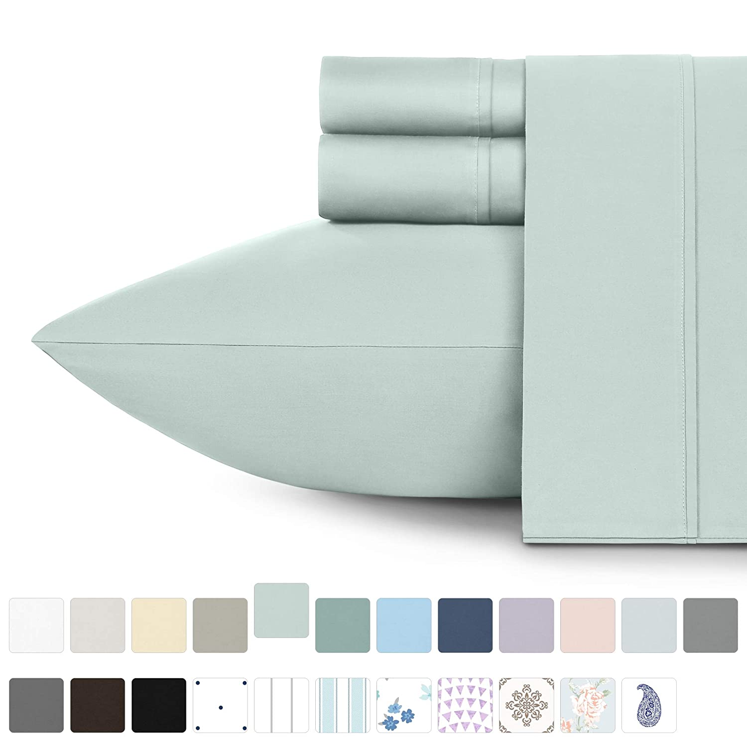 California Design Den 400 Thread Count 100% Cotton Sheet Set, Mod Spa Full Sheets 4 Piece Set, Long-Staple Combed Pure Natural Cotton Bedsheets, Soft & Silky Sateen Weave