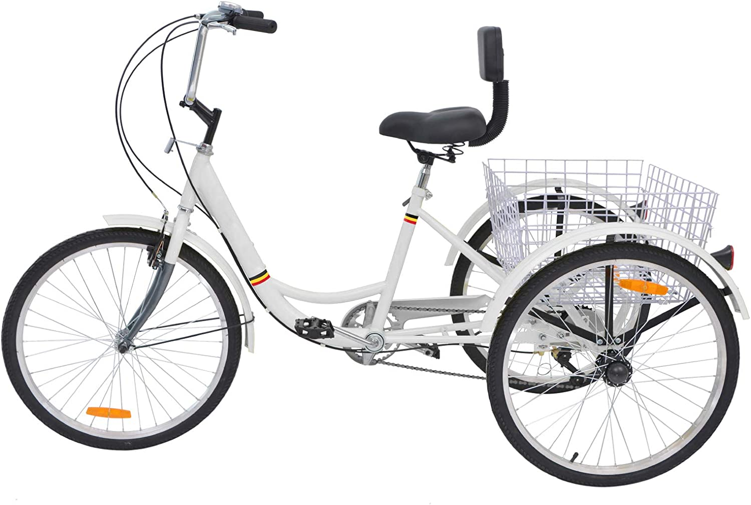 H ZT Adult Tricycle Trike 3 Wheeled Cruiser Bike with Large Basket and Maintenance Tools, 24 Inch Wheel Size Bike Trike, Men s Women s Cruiser Bike