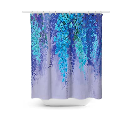 Livilan Wisteria Flower Shower Curtain Set 708quot X Mildew Mold Resistant Waterproof