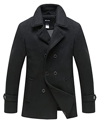 Wantdo Men's Peacoat Jacket Double Breasted Fit Lapel Warm Classic ...
