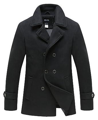 Wantdo Men s Slim Fit Peacoat Jacket Double Breasted Warm Overcoat Black  Small ea4deeef9