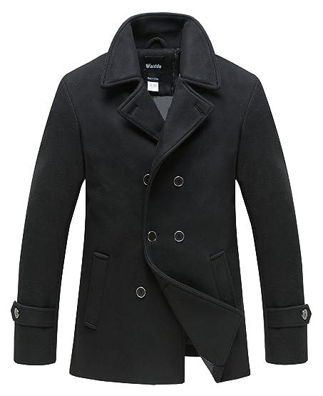 Wantdo Men's Peacoat Jacket Double Breasted Fit Lapel Warm Classic ...