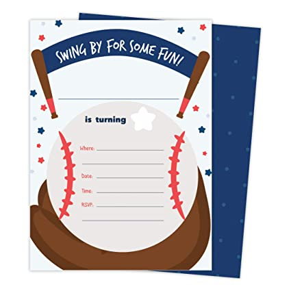 Image Unavailable Not Available For Color Baseball 1 Happy Birthday Invitations Invite Cards