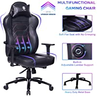 KILLABEE Gaming Chair Racing Office Chair - Adjustable Built-in Lumbar Support and Back Angle Ergonomic High-Back Leather Computer Desk Executive Swivel Chair with Wide Flat Seat and Metal Base, Black