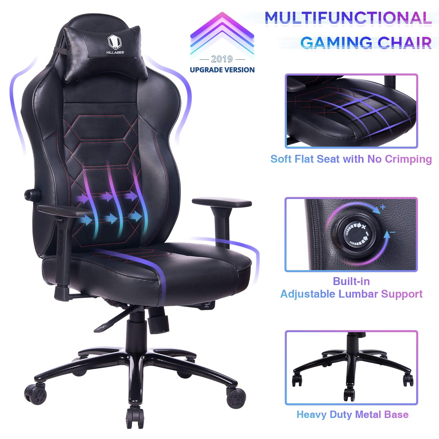 KILLABEE Gaming Chair Racing Office Chair - Adjustable Built-in Lumbar Support and Back Angle Ergonomic High-Back Leather Computer Desk Executive Swivel Chair with Wide Flat Seat and Metal Base by KILLABEE