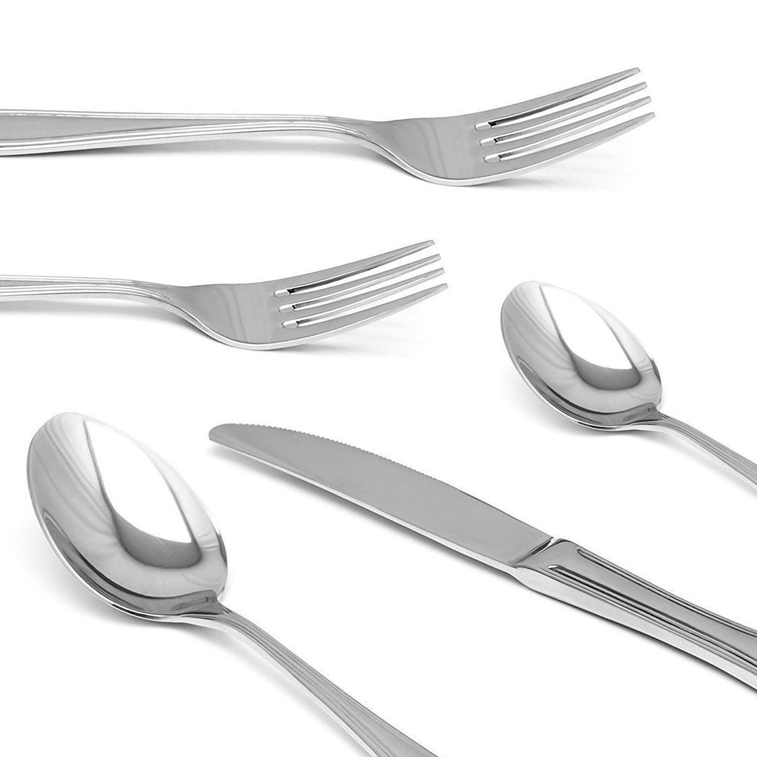 Royal 20-Piece Silverware Set - 18/10 Stainless Steel Utensils Forks Spoons Knives Set, Mirror Polished Cutlery Flatware Set by Royal (Image #3)