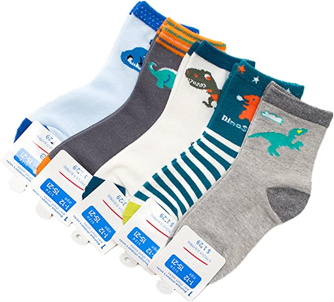 Boys Short Socks Fashion Number 51 Comfort Cotton Basic Crew Kids Socks 5 Pair Pack