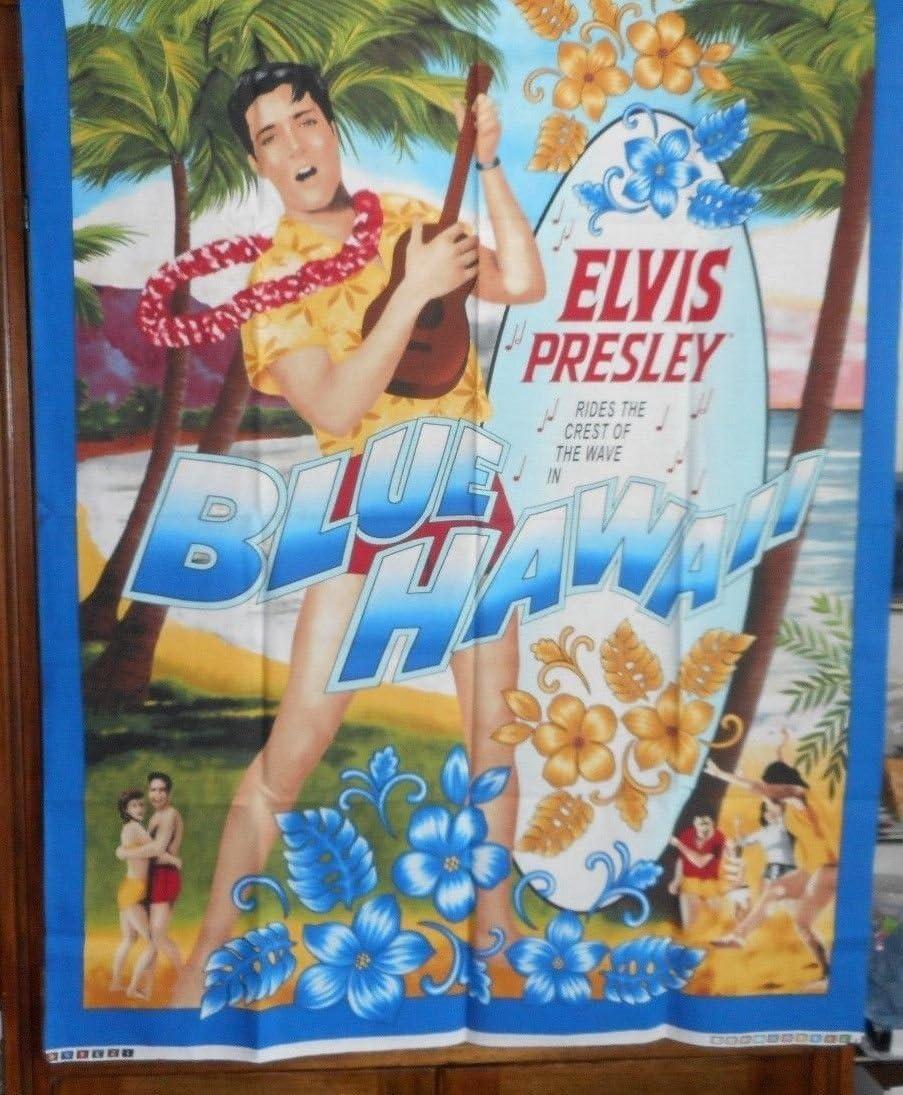 Elvis Presley ``Blue Hawaii`` fabric panel 100/% Cotton 34`` X43`` Cranston supplier:sadiesuesupply