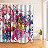 Pink Background Cartoon Anime Girl Fashion Shower Curtain 70 x 70 Inches Waterproof Mildew Resistant Polyester Fabric Home Bath Supplies Accessories Blackout Privacy Hanging Curtains Includes Hooks