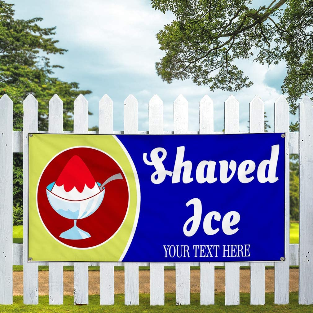 Custom Industrial Vinyl Banner Multiple Sizes Shaved Ice Style C Personalized Text Here Funny and Novelty Outdoor Weatherproof Yard Signs Blue 10 Grommets 56x140Inches