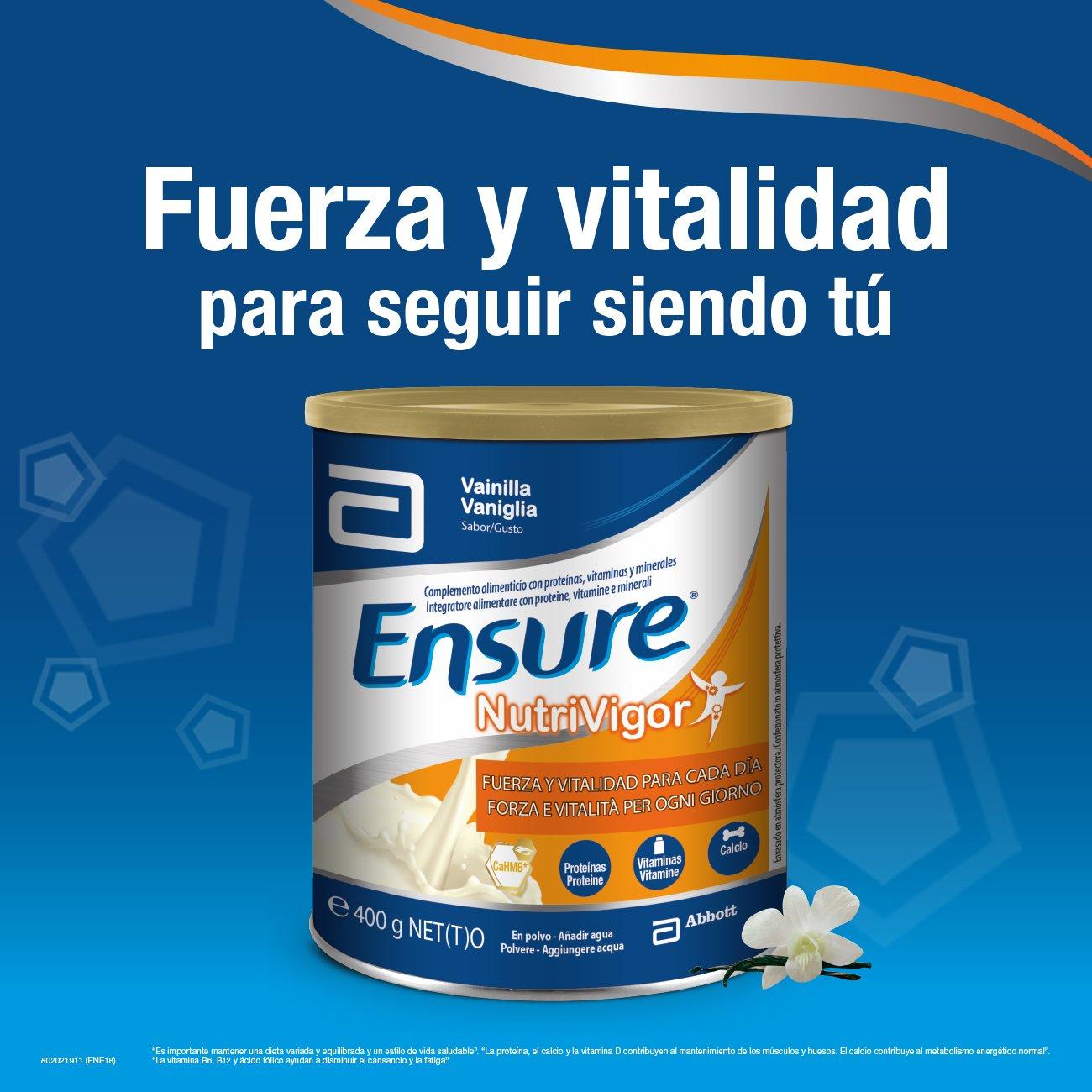 Ensure Nutrivigor sabor vainilla en botella de 220ml pack x4 – complemento alimenticio con proteínas, vitaminas, minerales y CaHMB*